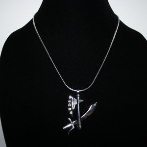 Silver sword and hatchet necklace 18""